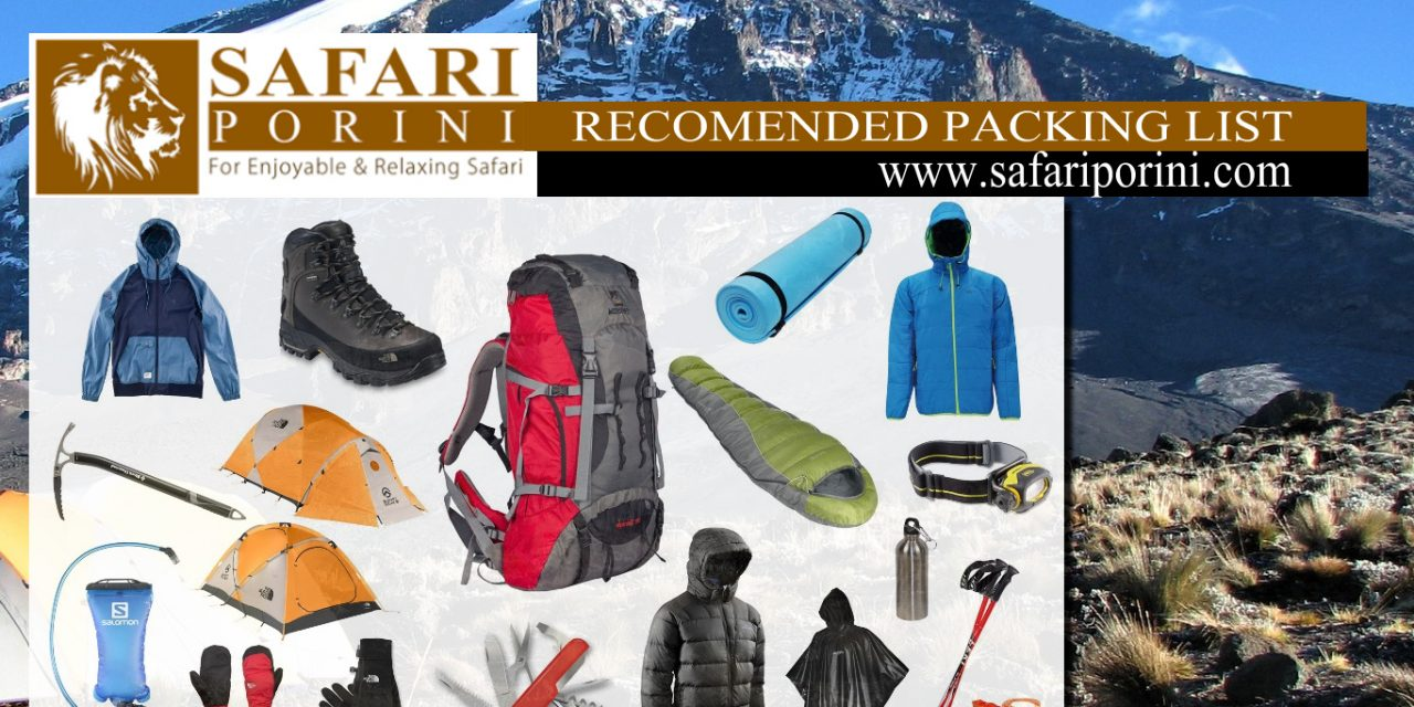 Kilimanjaro Recommended Packing List